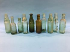 Ten glass advertising bottles to include; W. Conway Ltd, Cleethorpes, Harston and Co., Harrogate,