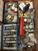 A box of assorted watches, including dials and faces, pocket watches etc.