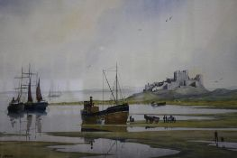 John J. Holmes, watercolour, signed, 'View of Bamburgh Castle', 30 x 50cm