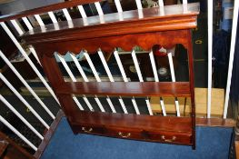 Mahogany open shelves with three drawers, 108cm wide