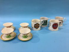 Four Vaux pint mugs, 'Wade' and 'Seton', to include; four cups and saucers in the style of Clarice