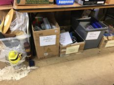 Four boxes of empty craft boxes, extension leads and craft making equipment