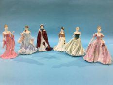 Three Royal Worcester figures and three Coalport figures