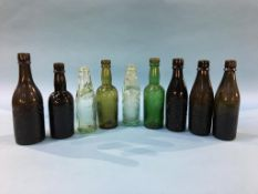 Nine glass advertising bottles, 4 Bewick Bros. of Blaydon, 5 from North Shields to include M. Knott,