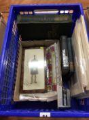 A box of military ephemera, including coronation silks, colour plates, book etc.