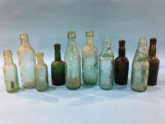 Ten glass advertising bottles to include The Aerated Water Co., Annfield Plain, James Hall,