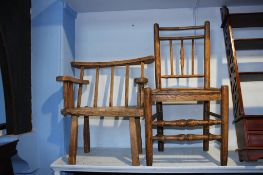 Two rustic country chairs