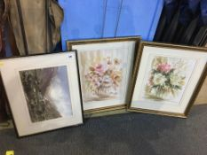 Three watercolours; landscape and flowers