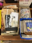 Two boxes of stamp albums and loose stamps, and a box of 1st Day covers