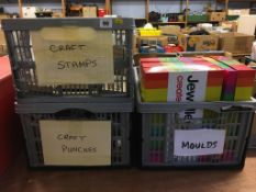 Three boxes of craft stamps, moulds and punches (Martha Stewart) etc.
