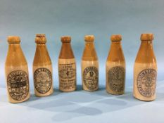 Six stoneware advertising bottles, Ridley Cutter and Firth, Newcastle, x2, Bewick Bros., Blaydon,