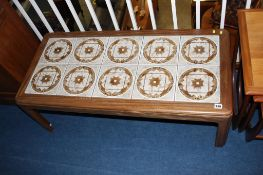 Teak and tiled top coffee table