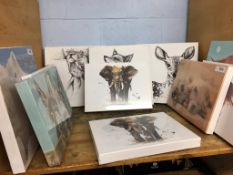 A selection of unframed canvases, animal subjects (as new)
