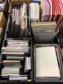 Four boxes of 3D pop up cards, paper pads, landscape cards and envelopes, mats and frames