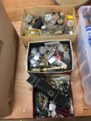 Three boxes of watches (spares and repairs)