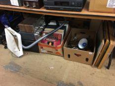 Akai stereo, LPs, lamp, Russell Hobbs hoover etc.