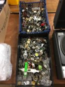 Two boxes of watches (spares and repairs)