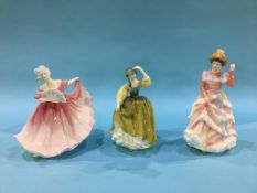 Three Royal Doulton figures 'Buttercup', 'Sharon' and 'Elaine'