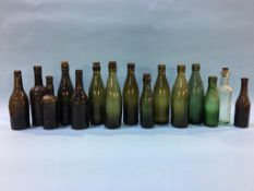 Fifteen glass advertising bottles 'Newcastle' to include; 2 Robert Newton, 2 Emmerson Bros.,