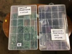 Two boxes of beads - adventurine, amethyst etc.