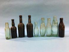 Nine glass advertising bottles, NE Breweries, Blackhill, G. S. Smart, Alnwick, Alnwick Brewery