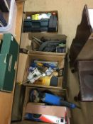 Four boxes of assorted tools