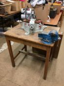 Worktop mounted with a chop saw and a vice