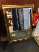 Gilt mirror and one other