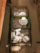 Three trays of assorted and two lamps
