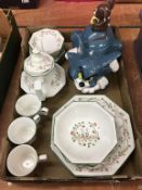 Johnson Bros. china and a biscuit barrel