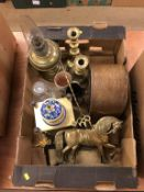 Box of assorted, reproduction Cloisonne clock, oil lamp etc.