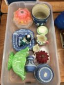 Assorted china including Royal Doulton figure, Wedgwood, Maling etc.