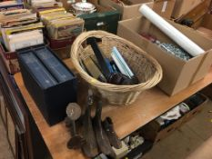 Box of assorted, basket and contents, a last etc.