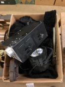 Box of assorted including Astrakhan coat, strobe light etc.