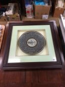 Framed and mounted Oriental plate
