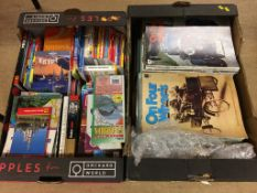 Two trays of books and magazines