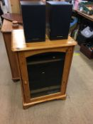 Various HIFI separates and a pine HIFI cabinet