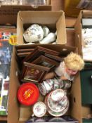 Two boxes of assorted including china, a doll etc.