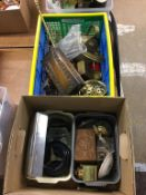Two boxes of assorted including brassware, ashtrays/lighters etc.