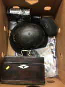 Helmet, tea caddy, Beatles LP etc.