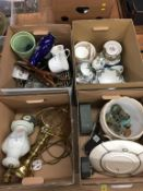 Four boxes of assorted china