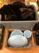 Two boxes, Pyrex and beaver lamb coat.