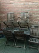 Garden table and six chairs