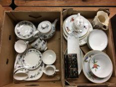 Two boxes of assorted china, including a Royal Doulton 'Burgundy' tea service
