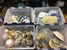 Four boxes of assorted china and glass