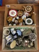 Two boxes including a plated tea set etc.