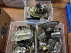 Three boxes of assorted silver plate etc.