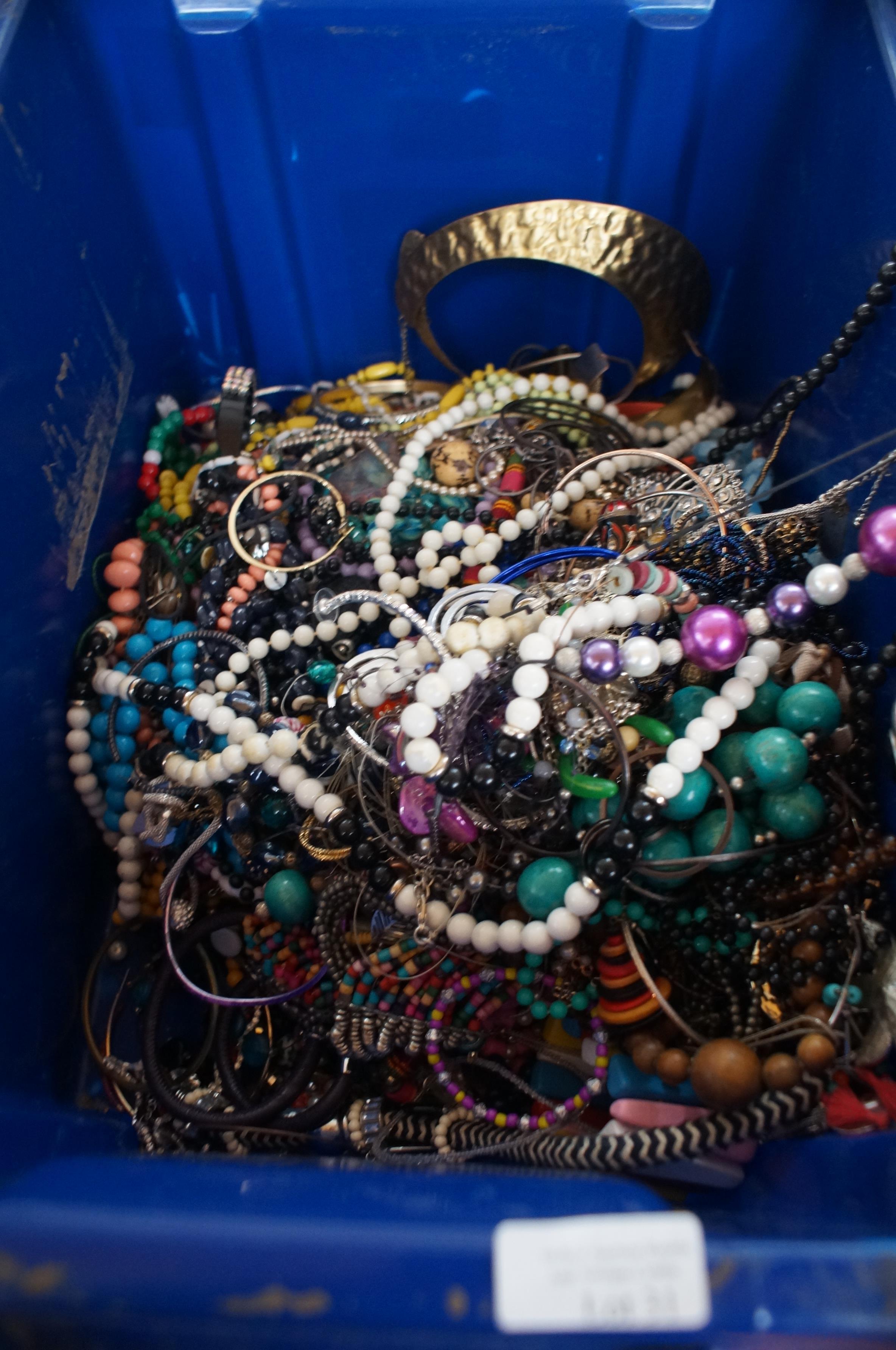 Lot 31 - Large & heavy box & costume jewellery