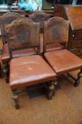 Set of 4 leather back chairs, embossed with Yorksh