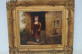 Framed oil on canvas, child's study signed